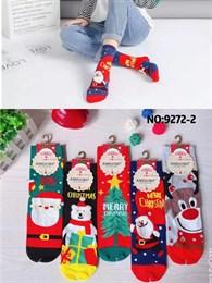 Новогодние носки с рисунками Санта Клауза елка ассорти оптом 9272
